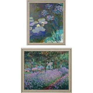 Claude Monet: 2 Bilder 'Gelbe Seerosen und Agapanthus' + 'Irisbeet in Monets Garten' im Set