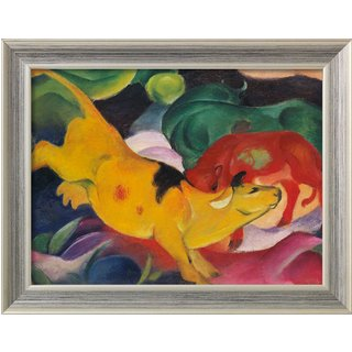 Franz Marc: Bild 'Kühe gelb-rot-grün' (1912), gerahmt