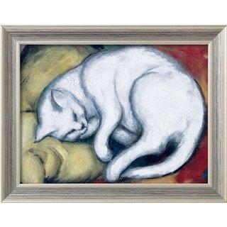 Franz Marc: Bild 'Die weiße Katze' (Kater auf gelbem Kissen) (1912), gerahmt