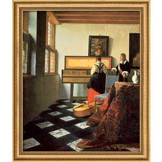 Jan Vermeer van Delft: Bild 'Die Musikstunde' (1662/64), gerahmt