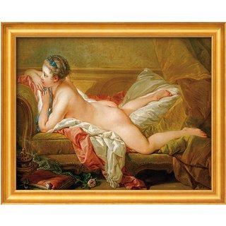 Francois Boucher: Bild 'Ruhendes Mädchen' (1752), gerahmt