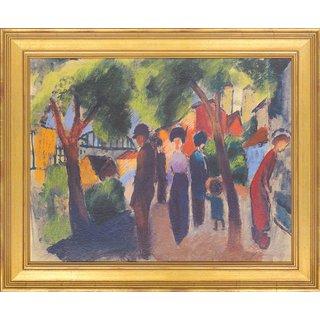 August Macke: Bild 'Spaziergänger unter Bäumen' (1913), gerahmt