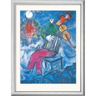 Marc Chagall: Bild 'Le Violoniste Bleu' (1947), gerahmt