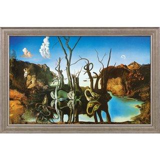 Salvador Dalí: Bild 'Schwäne spiegeln Elefanten wider' (1937), gerahmt