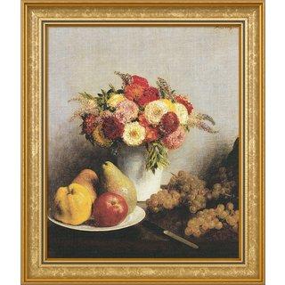 Henri Fantin-Latour: Bild 'Fleurs et fruits - Blumen und Früchte' (1865), gerahmt