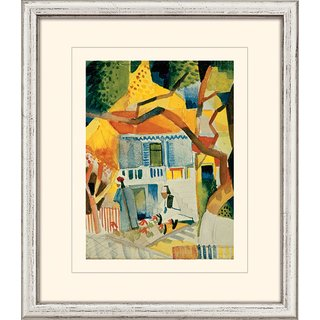 August Macke: Bild 'Innenhof des Landhauses in St. Germain' (1914), gerahmt