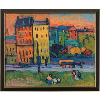 Wassily Kandinsky: Bild 'Häuser in München' (1908), gerahmt