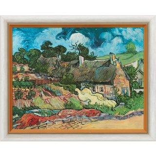 Vincent van Gogh: Bild 'Strohgedeckte Häuser in Cordeville' (1890), gerahmt