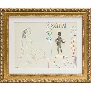 Pablo Picasso: Bild 'Maler und Modell' (1954), gerahmt