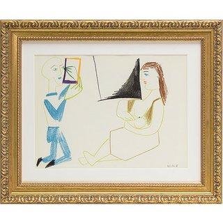 Pablo Picasso: Bild 'Im Atelier' (1954), gerahmt