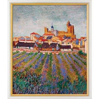 Vincent van Gogh: Bild 'Blick auf Saintes-Maries-de-la-Mer' (1888), gerahmt