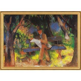 August Macke: Bild 'Lesender Mann' (1914), gerahmt