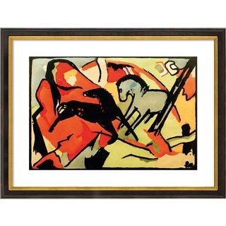 Franz Marc: Bild 'Zwei Pferde' (1911/12), gerahmt