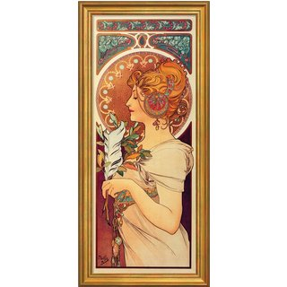 Alphonse Mucha: Bild 'La Plume' (1899), gerahmt