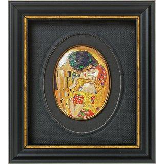 Gustav Klimt: Miniatur-Porzellanbild 'Der Kuss' (1907-08), gerahmt