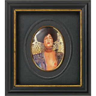 Gustav Klimt: Miniatur-Porzellanbild 'Judith I' (1901), gerahmt