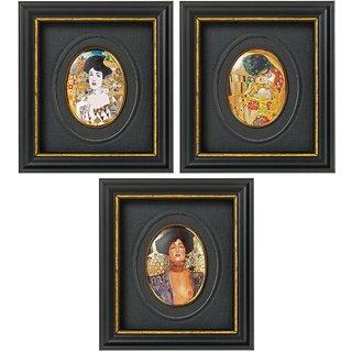 Gustav Klimt: 3 Miniatur-Porzellanbilder mit Künstlermotiven im Set