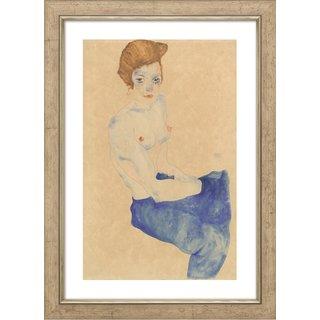 Egon Schiele: Bild 'Sitzendes Mädchen mit nacktem Oberkörper und blauem Rock' (1911), gerahmt