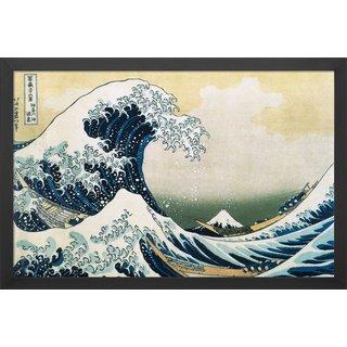 Katsushika Hokusai: Bild 'Die große Welle vor Kanagawa' (1830), gerahmt