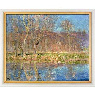 Claude Monet: Bild 'Bäume am Ufer, Frühling in Giverny' (1885), gerahmt