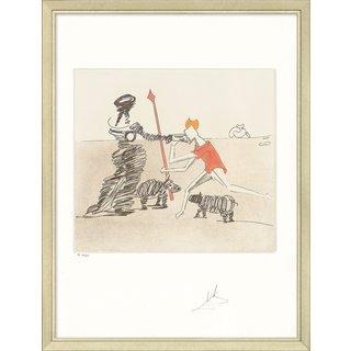 Salvador Dalí: Bild 'Don Quijote (K) - Pastorale' (1980), gerahmt