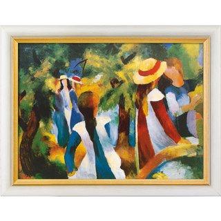 August Macke: Bild 'Mädchen unter Bäumen' (1914), gerahmt