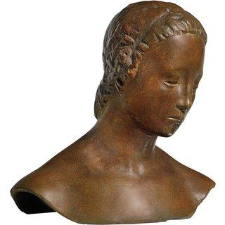 Wilhelm Lehmbruck: Büste 'Gesenkter Frauenkopf' (1910), Version in Bronze, Skulptur