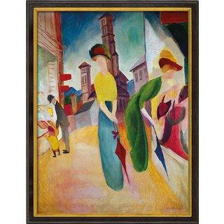 August Macke: Bild 'Vor dem Hutladen' (1913), gerahmt