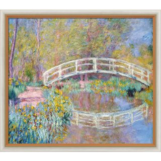 Claude Monet: Bild 'Brücke in Monets Garten' (1900), Version hell gerahmt