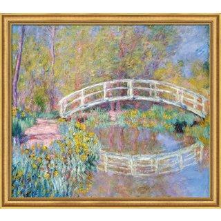 Claude Monet: Bild 'Brücke in Monets Garten' (1900), Version goldfarben gerahmt