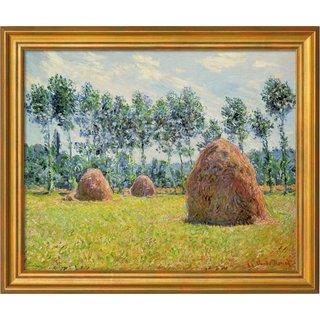 Claude Monet: Bild 'Stroh-Schober in Giverny' (1884), gerahmt