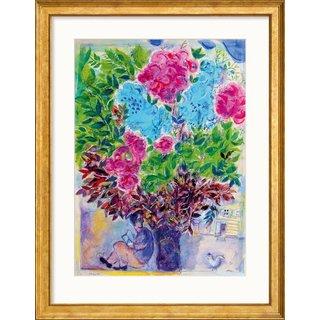 Marc Chagall: Bild 'Der Wartende unter dem Blumenstrauß', Version goldfarben gerahmt