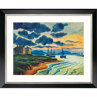 Max Pechstein: Bild 'Sonnenuntergang' (1925), Version schwarz gerahmt
