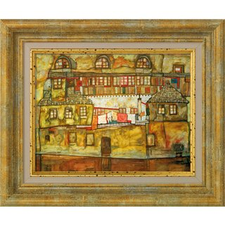 Egon Schiele: Bild 'Hauswand am Fluss' (1915), gerahmt