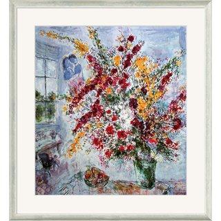 Marc Chagall: Bild 'Strauß am Fenster' (1969), gerahmt