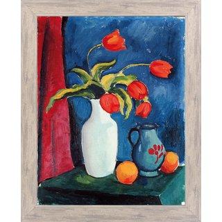 August Macke: Bild 'Rote Tulpen in weißer Vase' (1912), gerahmt