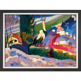 Wassily Kandinsky: Bild 'Winterlandschaft mit Kirche' (1910-1911), Version schwarz-silber gerahmt