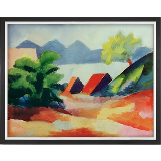 August Macke: Bild 'Am Thuner See I' (1913), gerahmt