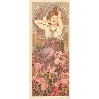 Alphonse Mucha: Glasbild 'Amethyst'