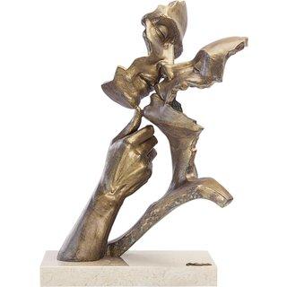 Angeles Anglada: Skulptur 'Vereint', Kunstguss Steinoptik