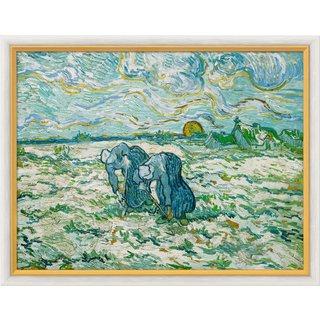 Vincent van Gogh: Bild 'Zwei grabende Bäuerinnen auf schneebedecktem Feld', gerahmt