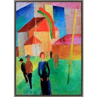 August Macke: Bild 'Beflaggte Kirche' (1914), gerahmt
