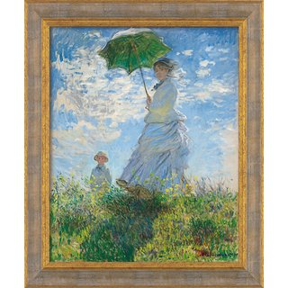 Claude Monet: Bild 'Frau mit Sonnenschirm (Madame Monet und ihr Sohn)' (1875), gerahmt