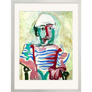 Pablo Picasso: Bild 'Sitzender Mann' (1964), gerahmt