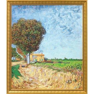 Vincent van Gogh: Bild 'Allee bei Arles mit Häusern' (1888), gerahmt