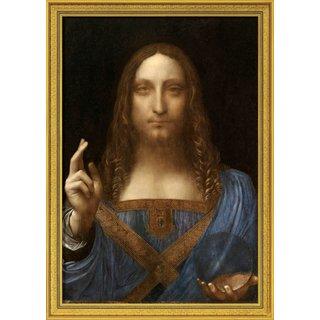 Leonardo da Vinci: Bild 'Salvator Mundi' (um 1500), gerahmt