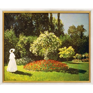 Claude Monet: Bild 'Dame im Garten' (1867), gerahmt