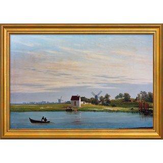 Caspar David Friedrich: Bild 'Landschaft mit Windmühlen' (um 1822/23), gerahmt