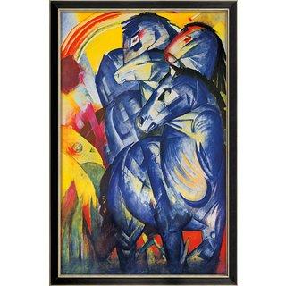 Franz Marc: Bild 'Turm der blauen Pferde' (1913), gerahmt