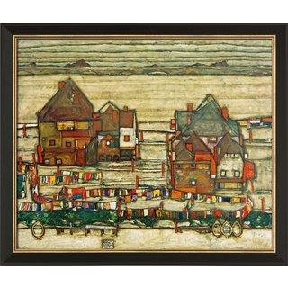 Egon Schiele: Bild 'Häuser mit bunter Wäsche (Vorstadt II)' (1914), gerahmt